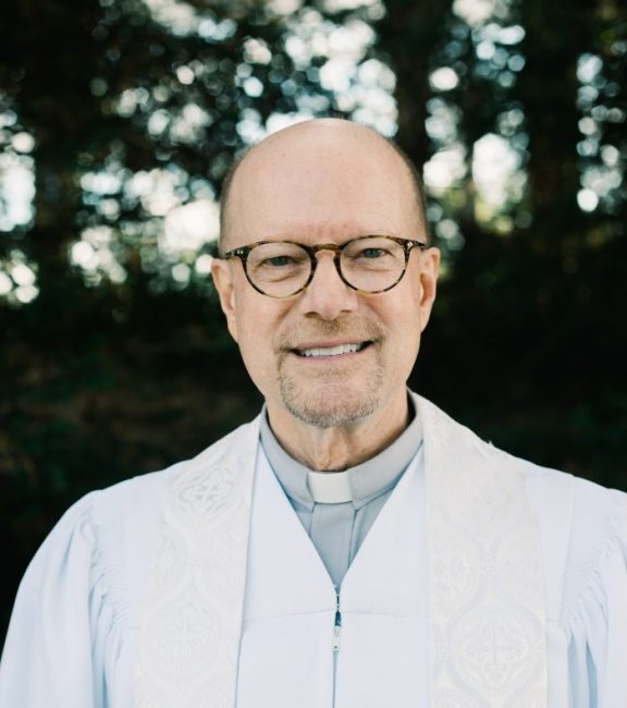 Rev. Dan Burchett a Minister at Wayfarers Chapel in Rancho Palos Verdes, CA known also as a popular wedding venue and often referred to as the Tree Chapel and the Glass Church designed by Lloyd Wright
