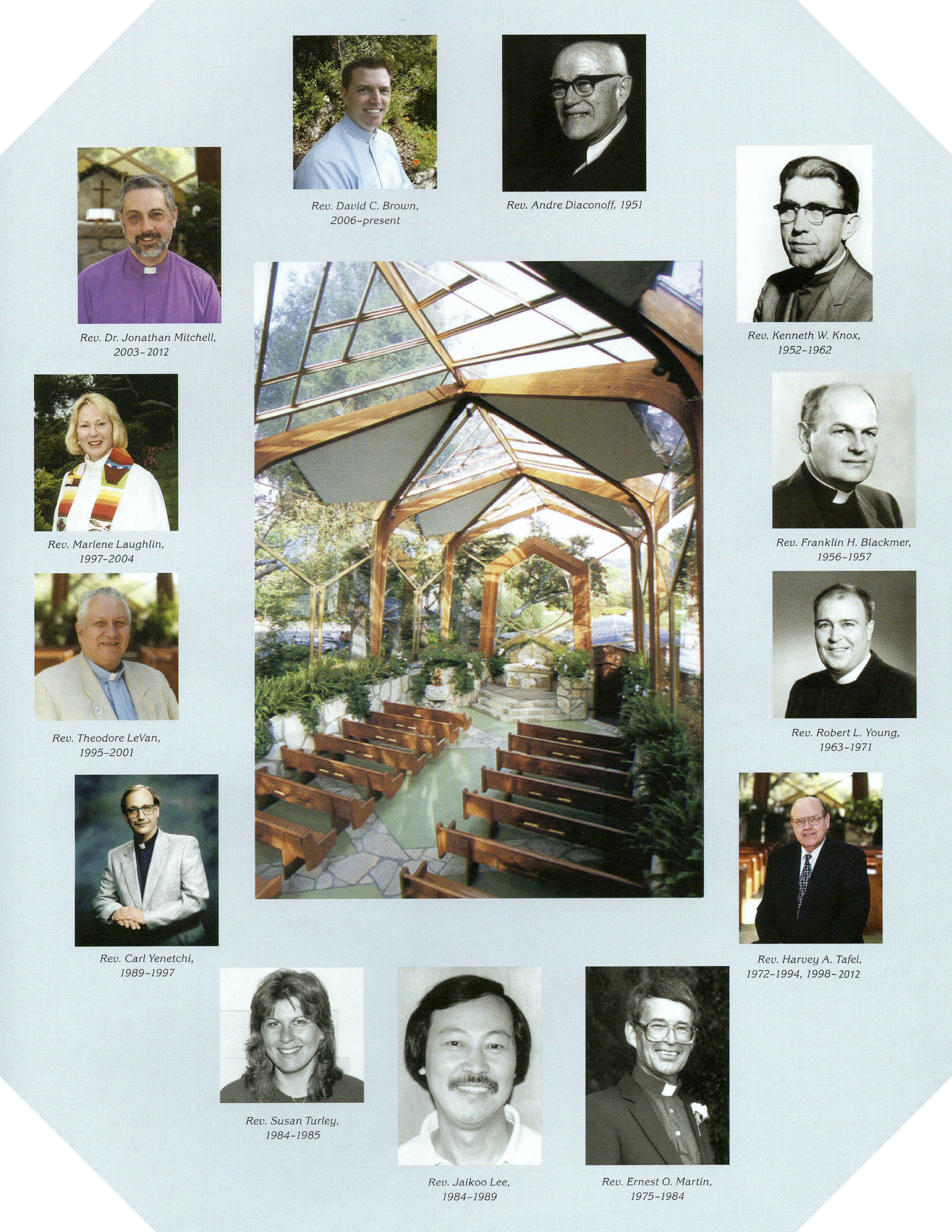 Photos of Lead Chapel Ministers of Wayfarers Chapel in Rancho Palos Verdes, CA known also as the Tree Chapel and the Glass Church