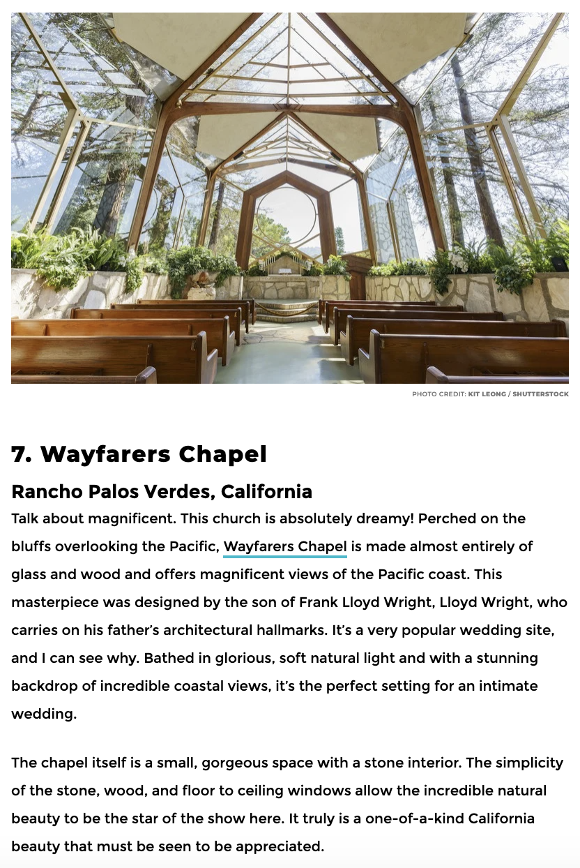 Wayfarers Chapel historic building and wedding venue designed by Lloyd Wright known as the Glass Chapel and Tree Chapel