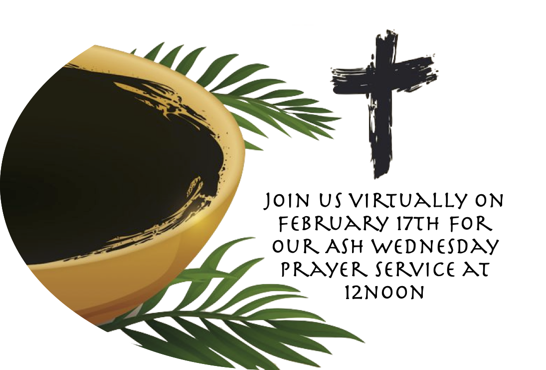 Image of a bowl of ashes, palm fronds, and a cross